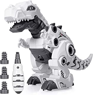 BEESTECH LED Walking Robot Dinosaur Toy, Take Apart Dinosaur Toys for 3, 4,5,6 Year Old Boys with Roar Sound, Colorful Lights, Toys for 4, 5 Year Old Boys Girls