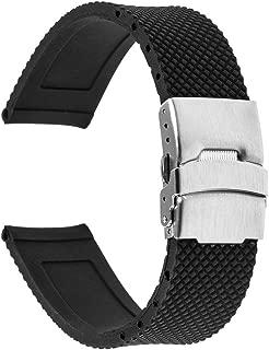 TRUMiRR 22mm Silicone Rubber Watch Band Strap for Samsung Gear S3 Classic Frontier, Gear 2 R380 R381 R382, Moto 360 2 46mm Men, Asus Zenwatch 1 2 Men, Galaxy Watch 46mm, LG G Watch Urbane, Black