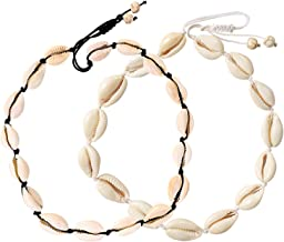UEUC Shell Choker Necklace,White Natural Cowrie Beach Necklace&Anklet&Bracelet,Hawaiian Surfer Seashell Necklace for Summer Vacation