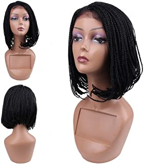HAIR WAY Box Braided Wigs Bob Lace Front Wig for Black Women Glueless Short Bob Braided Lace Wig with Baby Hair for Daily Wear Half Hand Tied 12inches #1