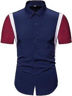 Abeaicoc Men's Down Button Slim Block Color Casual Short Sleeve Dress Work Shirt
