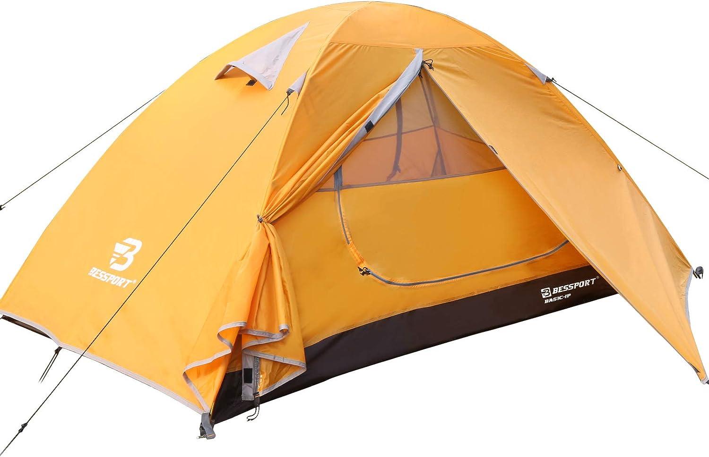 Bessport Camping Tent 1 Person Tent Waterproof Two Doors Tent Easy ...