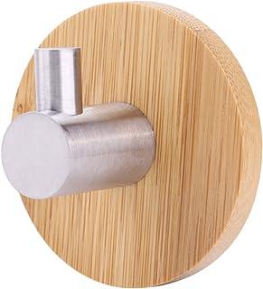 Aufee Haczyki ścienne, naturalny bambus, stal nierdzewna, wieszak ścienny, haczyk na ręczniki, do kuchni, łazienki, wiesza...