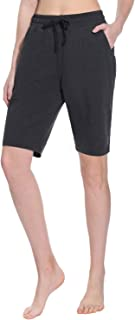 TAIBID Women's Active Lounge Bermuda Shorts Cotton Fitness Activewear Yoga Workout Running Shorts with Pockets, Size S - XL