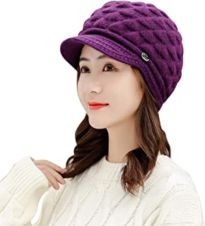 Warm Hats for Women Winter - Yezijin Women Winter Warm Cap Scarf Beret Baggy Knit Crochet Beanie Hat Ski Cap