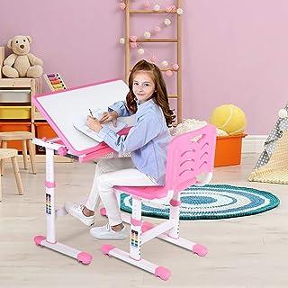 Cocoarm Bureau pour Enfant avec Chaise et tiroir réglable en Hauteur Bureau avec Chaise Enfant Ensemble Table et Chaise En...