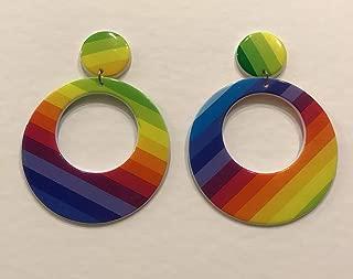 60s Go Go Style Rainbow Hoop Earrings, One Size