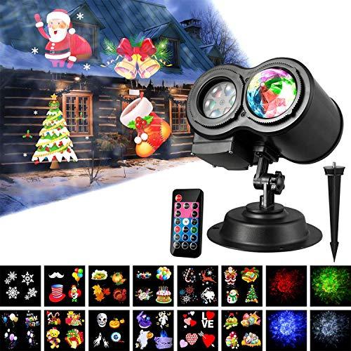 Luces del Proyector de la Navidad, Dingcaiyi Impermeable Exterior Decoración Luz de Proyector con Control Remoto y 12 Diapositivas de Patrón para Fiesta, Navidad, Festivos