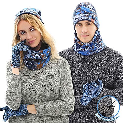 LovePromotion Wintermütze, Schal und Touchscreen-Handschuhe, 3 Stück, Unisex, dick, Camouflage für Männer und Frauen - Blau - Einheitsgröße