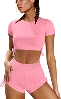 OYS Women's Workout 2 Piece Outfits Ruched High Waist Yoga Shorts Gym Sets Running Crop Tops