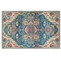 レトロな民族スタイルのカーペット、リビングルームの寝室のベッドサイドソファーコーヒーテーブルエリアラグ、快適な柔らかくて滑り止めの床のカーペット (Color : D, サイズ : 80*160cm)