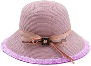 SHENTIANWEI Summer Hat Women's Straw Hat Sun Hat Beach Hat Bowknot Handmade Hat