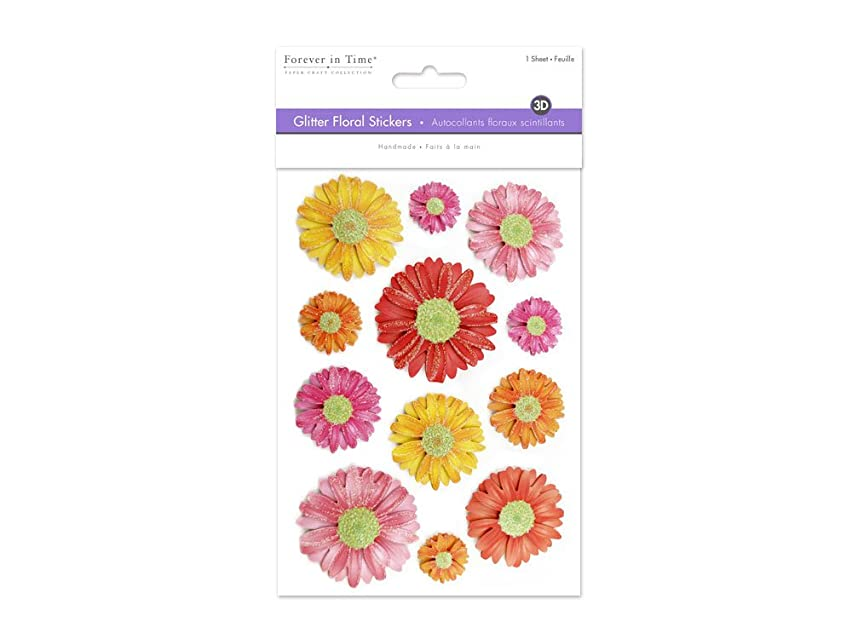 Forever in Time SS856A Handmade Glitter Floral Stickers, Mums