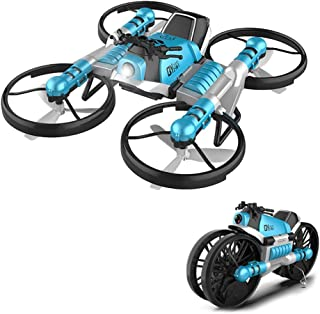 Unique 2-in-1 Folding Double Mode WiFi FPV Drone with HD Camera, Newest Toys Transforming Motorcycle Multi-Function Vehicles Deformation Motorcycle Drone Quadcopter (Blue)