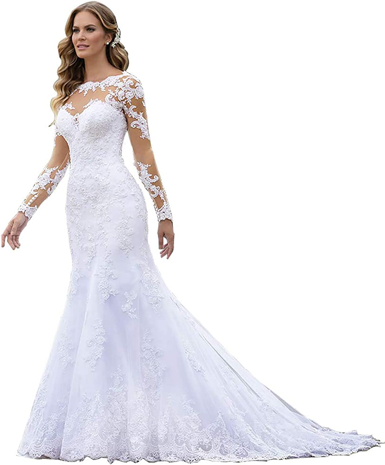 YnanLi Dress Women's A Line Lace Tulle Wedding Dresses Long for Bride 2021 Open Back Bridal Prom Gowns