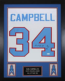 Earl Campbell Autographed White Oilers Jersey - Beautifully Matted and Framed - Hand Signed By Earl Campbell and Certified Authentic by Auto JSA COA - Includes Certificate of Authenticity