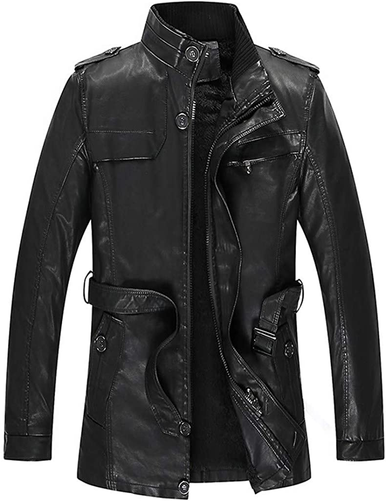 KASAAS Men's Leather Jackets Plus Size M-6XL, Distressed Zipper Keep Warm Padded Casual Work Winter Outdoor Coats Tops