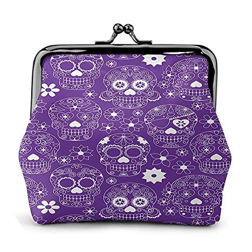 Monedero pequeño con diseño de calavera de azúcar floral púrpura para mujeres y niñas con cierre de cambio de cuero