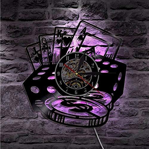 ganjue Tarjeta De Pokerstars Relojes De Pared Disco De Vinilo Reloj De Pared con Led Blacklight 3D Decoración Colgante Reloj Negro Decoración para El Hogar con Luz-Led with 7Colors