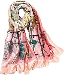 Fashion Lady Print 180cm Silk Satin Scarf Beach Towel Oversized Sun Protection Holiday Shawl (Color : 03, Size : 180 * 90cm)