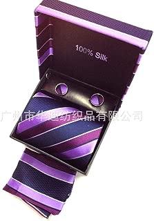 Wsreyj Conjunto de corbata para hombre exclusivo de rayas moradas ...