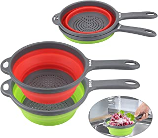 Colander Set, Kitchen Collapsible Colanders,Space-Saver Folding Silicone Strainers,Food Strainer Drainer Bowls with Handles,for Hot or Cold Food, Fruit Vegetable(Green&Red)