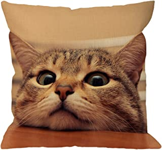 غطاء وسادة القط مزخرف من HGOD Designs القط الفضولي لطيف ينظر إليك مع عيون النسر على الطاولة القطن الكتان وسادة القضية للرج...