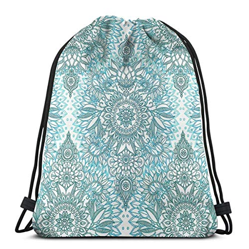 Corner Time Small Artificial Flowers Turquoise Blue Teal and White Protea Doodle Pattern Waterproof Foldable Sport Sackpack Gym Bag Sack Drawstring Back.