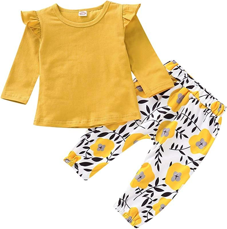 PigMaMa Infant Baby Girl Sets Ruffle Long Sleeve Yellow T Shirt Tops Flower Pant Outfits Toddler Clothes