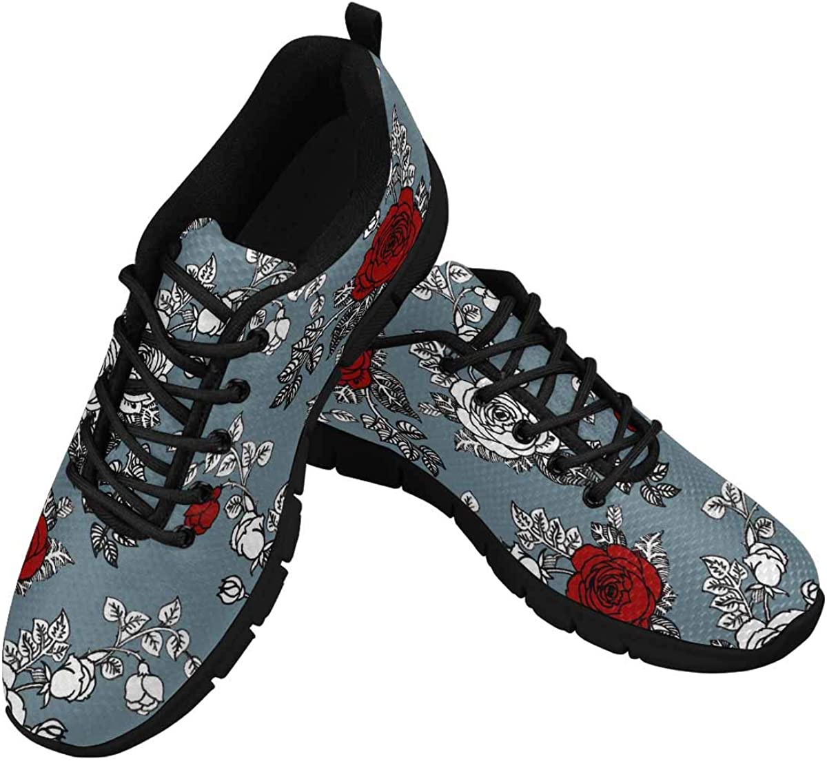 INTERESTPRINT Red and White Roses Women's Athletic Walki Mail order Gray Price reduction on