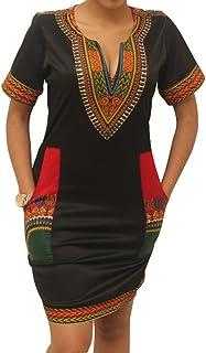 shekiss Women's Dashiki African Bodycon Dresses Bohemian Vintage Print Club Midi V-Neck Pockets