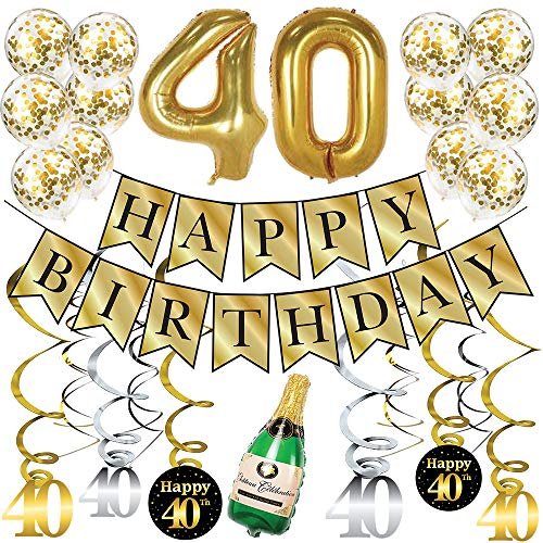 Sterling James Co. 40th Birthday Gold Party Pack - Happy Birthday Bunting Banner, Gold 40' Balloons, Champagne Balloon, Swirls and Metallic Glitter Confetti Balloons - 40th Birthday Party Supplies