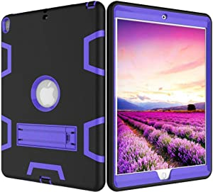 For Apple iPad Mini 4 7.9 Inch Black and Purple color Shockproof Kickstand Three Layer Armor Defender Case Cover
