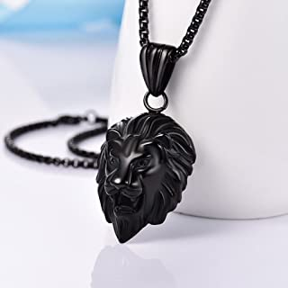 Syhonic Heavy New 316L Stainless Steel Jewelry Boy&Mens Lion Pendant Necklace Black Tone