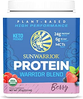 Sunwarrior - Warrior Blend, Plant Based, Raw Vegan Protein Powder with Peas & Hemp, Berry, 13.2 Ounce (Pack of 1)