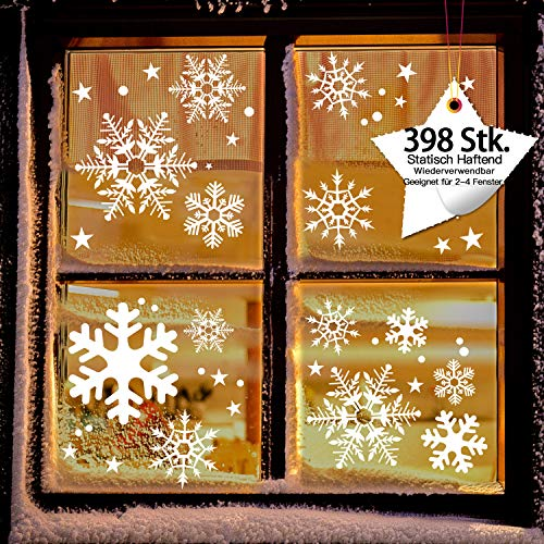 LessMo Fensterbilder, Fensterdeko für Weihnachts- und Winter- Dekoration, hochwertigem PVC-Material mit Kleber
