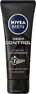 Nivea Men Deep Control reinigende Gesichtsmaske, Gesichtsreinigung für Männer gegen Unreinheiten, Reinigungsmaske, 2er-Pack 2 x 75 ml