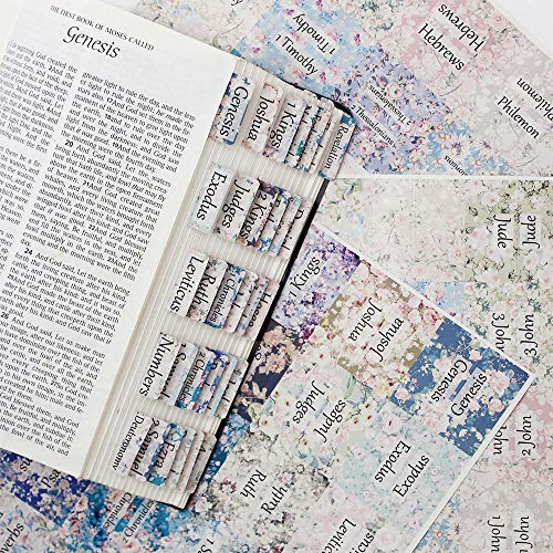 Floral Bible Tabs for Women, Bible Tabs Old and New Testament, Bible Journaling Supplies (90pcs)(color3)