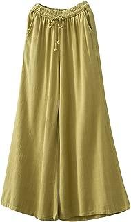 Minibee Women's Comfy Wide Leg Pants Linen Elastic Drawstring Culottes Lounge Trousers Fit US 0-12