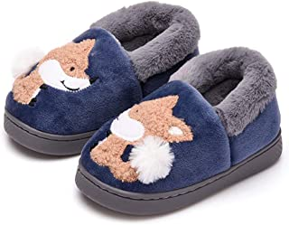 Ainikas Toddler Boys Girls Slippers Fluffy Little Kids House Slippers Warm Fur Cute Animal Home Slipper