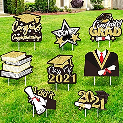 Honoson 8 Pieces Graduation Yard Signswith Stakes2021 Graduation Party SuppliesClass of 2021 Congrats GradCap Diploma Lawn Signs Large Gold Glitter Corrugated Outdoor Decorations for Garden
