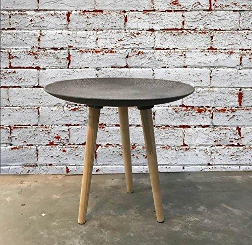 Loft-Design BEISTELLTISCH Fabrik Stil rund Couchtisch Nachttisch Sofa-Tisch Beton-Optik ca. Ø 44,5 x H 44 cm Dreibein-Tisch ~vds