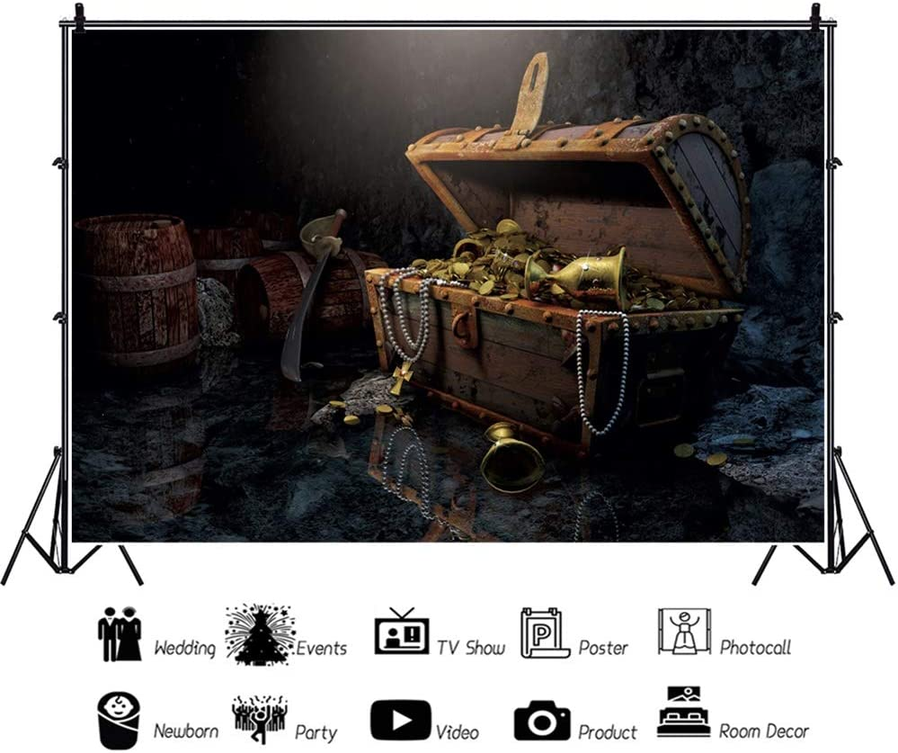 Leowefowa Retro Medieval Cave Interior Treasure Box Backdrop 12x8ft Vinyl Navigation Themed Photography Background Child Adult Photoshoot Event Party Decoration Studio Photo Booth Props Wallpaper
