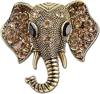 Retro Elephant Brooch Pins, Fashion Crystal Rhinestone Animal Elephant Head Lapel Pin Suit Corsage Accessories Jewelry Unisex