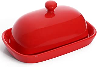 Sweese 306.104 Porcelain Cute Butter Dish with Lid, Perfect for East/West Butter, Red