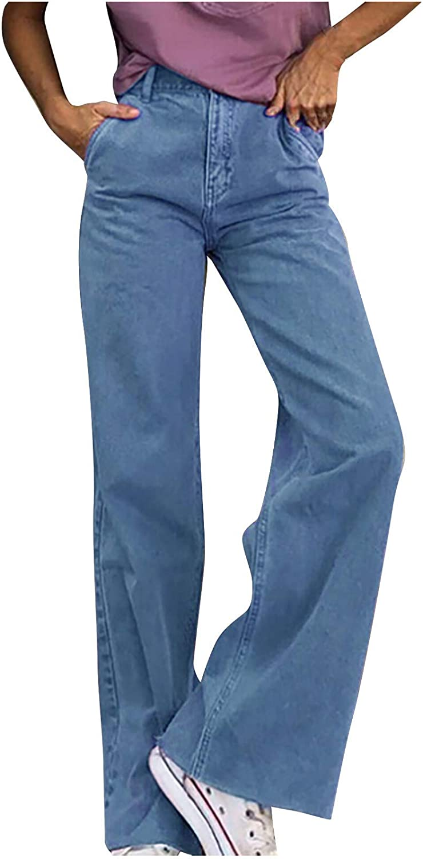 Bravetoshop Women Wide Leg Jeans High Waisted Baggy Denim Pants Casual Straight Trousers Vintage Streetwear