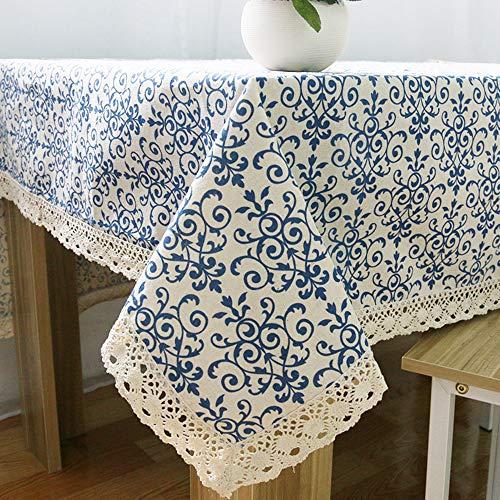 YUMUO Mantel De Lino Clásico,patrón De Porcelana Azul Chino Vintage Mantel De Tela De Flor Rectangular para La Mesa De La Cena Partido Jardín Mesa A 140x180cm(55x71inch)