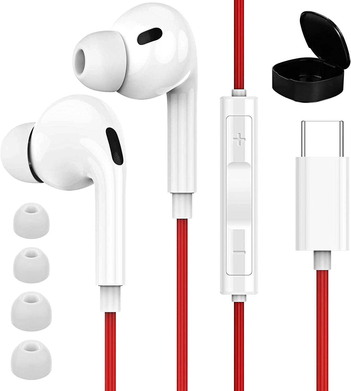 USB C Headphones for Galaxy S21 Ultra, APETOO Type C Earphones Wired in Ear Headphones with Mic Stereo Earbuds for Samsung S20 FE S20 S21 Plus Note 20 Ultra Note 10+ Pixel 5 4 3 2 XL OnePlus 8T
