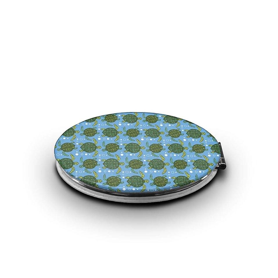 グリル驚いたトレイ携帯ミラー 緑の亀ミニ化粧鏡 化粧鏡 3倍拡大鏡+等倍鏡 両面化粧鏡 楕円形 携帯型 折り畳み式 コンパクト鏡 外出に 持ち運び便利 超軽量 おしゃれ 9.0X6.6CM