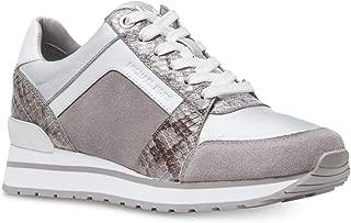 Michael Kors MK Women's Billie Trainer Suede Sneakers Shoes (6, Pearl Grey)